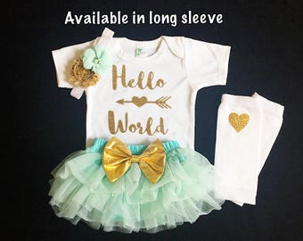baby girl coming home outfit- baby girl shower gift- hello world baby girl outfit - custom newborn baby girl- aqua and gold baby girl outfit