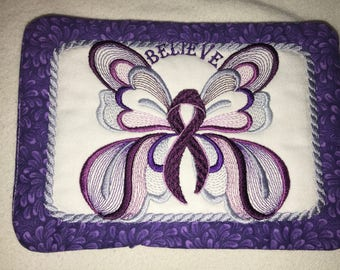 Cancer Butterfly Mug Rugs