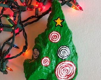 Hand Painted ChristmasTree Rock