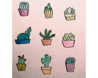 Cacti Watercolor Decorative Artwork