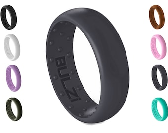 BULZi - Massaging Comfort Fit Silicone Wedding Ring 6mm - #1 Most Comfortable Wedding Band - Round Edges with Flexible Work Safety Design