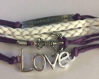 Infinity Leather Love Anchor Hope Bracelet-c85