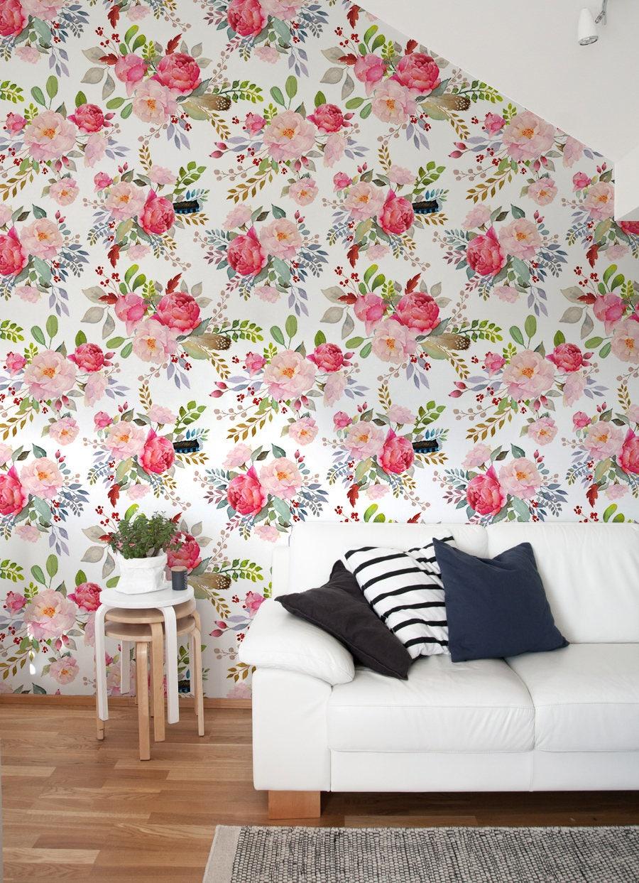 Vintage Floral Wallpaper Vintage Nursery Decor Flower Pattern