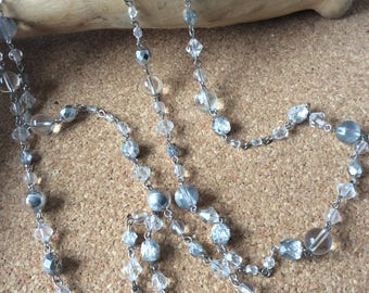 silver and clear bead necklace