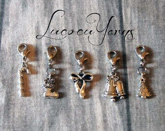 5 stitch markers, stitch markers, markers, series counter
