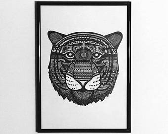 A4 Tiger Pen & Ink Illustration