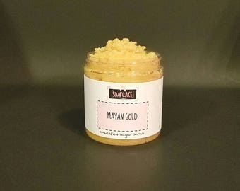 Mayan Gold Emulsified Sugar Scrub / Handmade Body Scrub Polish
