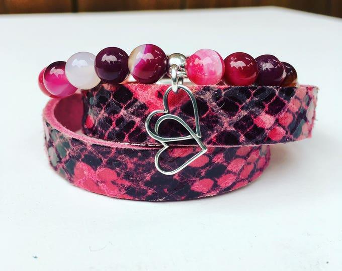 Bracelet Leather gemstone Pink Pink Leather