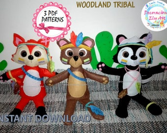 Fox, Bear and Skunk, felt animals, woodland decorations Friends of the Forest, easy, Fox and their friends, Fox, Bear and Skunk