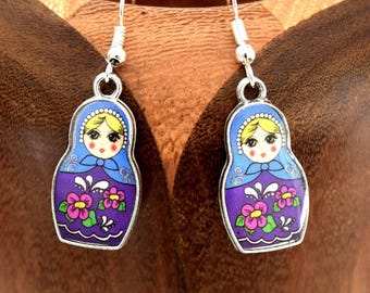 Blue matryoshka nesting dolls blue clip earrings