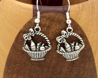 Antique silver picnic, clips silver wicker basket antique basket earrings