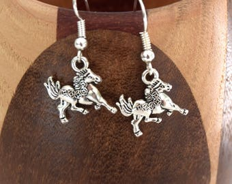 Earrings silver horses galloping horses silver clips