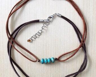 Jasper choker necklaces, Leather jewelry, Hippie jewelry, Boho jewelry, Beaded necklace, Choker, Jasper, Czech glass