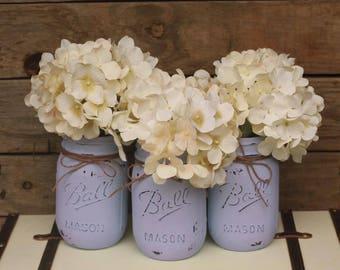 Rustic Lavender Painted Mason Jars   Wedding   Decor   Centerpiece   Table Decoration  