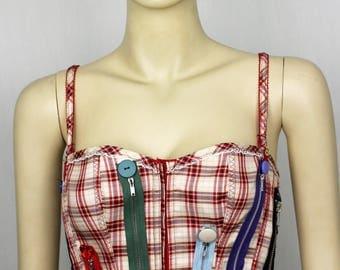 Upcycled zips and button punk tartan burlesque corset 12-14UK
