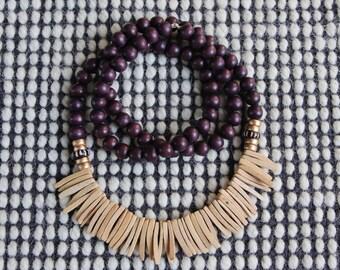 Noix de coco et perles de bois
