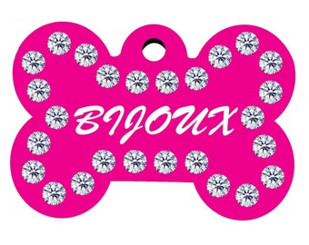 Swarovski Crystals Pet Id Tags Rhinestone Personalized Engraved Dog Cat Id Double Sided Tag