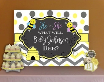 What Will It Bee? Baby Gender Reveal Cake Table  Backdrop