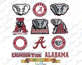 Alabama Crimson Tide SVG Alabama svg Elephant svg Crimson tide logo svg Alabama gift eps pdf dxf png cutting files Silhouette Cricut Design