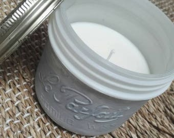 Soy wax candle in glass jar