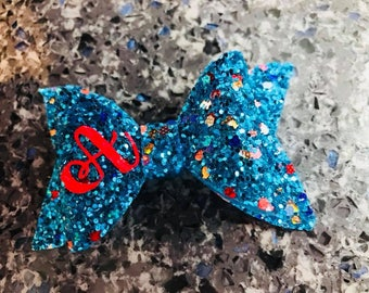 Personalised Glitter Hair Bow 5cm