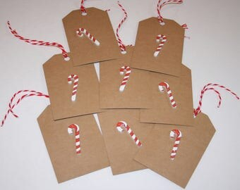 Christmas Gift Tags, Holiday Gift Tags, Candy Cane Accented Kraft Gift Tags, Set of 8 Gift Tags, Christmas Tags