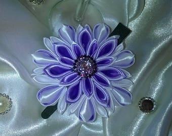 Flower hair clip made kanzashi way in white and purple satin ribbon
