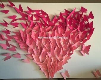 3D Ombre Butterfly Heart