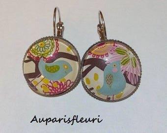 Silver earrings * bird * multicolored