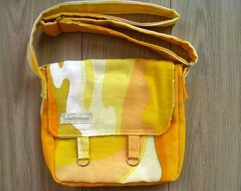 Shoulder bag with adjustable strap, made from vintage fabric
