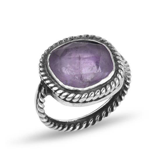 Silver Amethyst Twisted Wire Ring Gift For Her