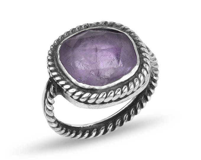 Silver Amethyst Twisted Wire Ring