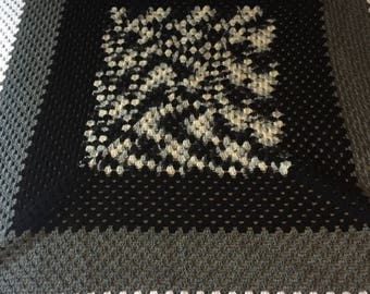 Crocheted blanket, granny square, handmade, black, white, grey