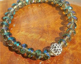 Womans beaded bracelet, Green Bracelet, Blue Bracelet, Crystal Beades , Sparkle Bracelet