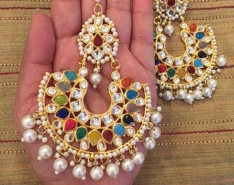 Gold Plated Stone and Pearl Statement Earrings and Tikka for Party or Bridal