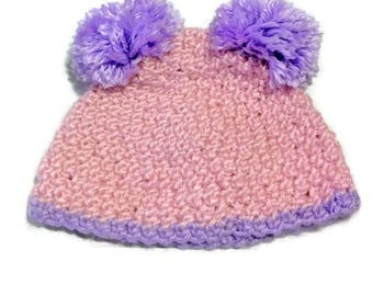 Crocheted Baby Double Pom Pom Hat