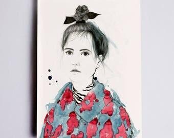 Top Knot #2 Fashion Illustration Print, Fashion Wall Art Fashion Illustration Sketch, Fashion Watercolor, Fashion Drawing, Fashion Sketch