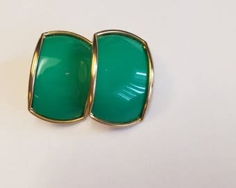 Vintage 1980's Green Clip On Earrings