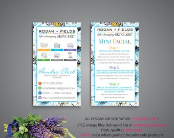Rodan and Fields Mini Facial, Custom Rodan and Fields Marketing, R+F PERSONALIZED, Floral Card RF, Printable RF07