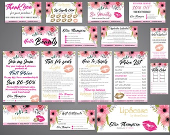 LipSense Bundle, LipSense Kit, Lipsense Business card, Tips and Tricks, LipSense Loyalty Cards, LipSense Thank You, Floral Cards LS02