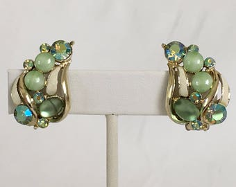 Kramer Green Rhinestone Leaf Earrings, Vintage, Moonstone, Gold Tone, Clip On, Aurora Borealis, White Enamel, Ear Climbers, Pea Pods