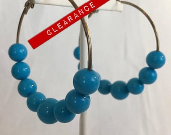 CLEARANCE Large Hoops Silver Plated With Turquoise Plastic Beads Vintage Earrings