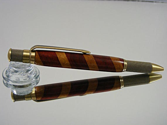 Knurled Ink Pen in Antique Brass and Laminate Wood