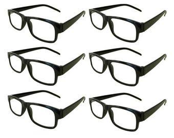 Mr. Reading Glasses 6 Black Plastic Frame Men/Women Vintage Reader Wholesale +3.75