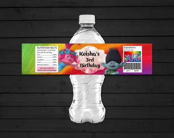 Personalized Trolls Water Bottle Label Birthday Party Printable DIY - Digital File
