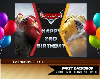 Personalized Cars 3 Lightning Mcqueen Cruz Ramirez Backdrop Birthday Banner Sign Party Background Table Setting Printable DIY- Digital File