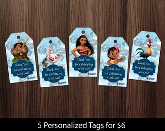 Personalized Moana Vaiana Baby Moana Maui Thank You Tag Gift Favor Tags Favors Gifts Pua Heihei Birthday Party Printable DIY - Digital File