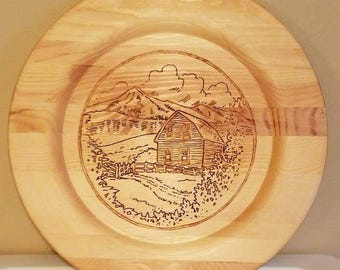 House/Mountain Scenery Wood Plate