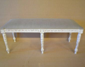 Beautiful Bench / Stool / Window Seat in Beige Natural Linen New *Handmade in UK*