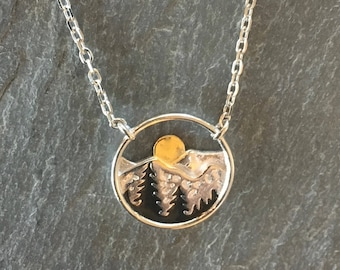SALE ~ 25% off! Mountain Range Necklace ~ Sterling Silver ~ Trees & Bronze Rising Sun ~ Sterling Cable Chain ~ Fast FREE Shipping!